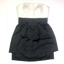 Max and cleo pleated strapless cocktail dress white black satin size 10 medium