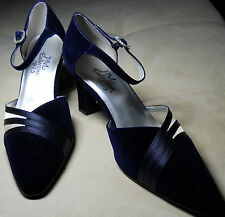 PM COLLECTION  925 Gently Worn Blue Fabric Heels Leather Synthetic Sole