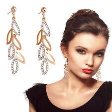Charm 18K Gold Plated Leaf Cezch Rhinestone Drop Dangle Earrings Valentine Gift