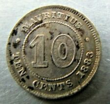 Mauritius 10 Cents 1883 mottled toned EF-AU with luster.