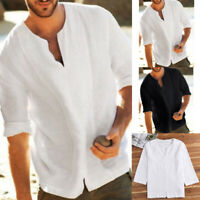 Mens Casual Solid Shirts V Neck Linen Breathable Pullover Summer Wear Shirt Tops