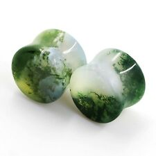 Pair Indian Water Grass Agate Stone Ear Gauge Tunnel Plug Earring Expander Hot