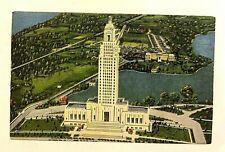 """BATON ROUGE, LA, """"Louisiana State Capitol Aerial View"""", Vintage Linen PC 322"""