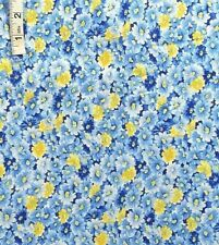 1+ yd Blue & Yellow Floral Print Cotton Quilting Fabric,Face Cover,Masks