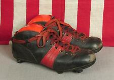 Vintage 1940s Black Leather Rugby/Soccer Cleats Football Shoes Red Stripes Sz.7