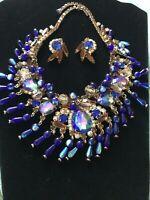 Vintage Juliana Blue Bib Necklace And Earrings