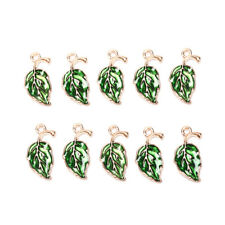 10Pcs Enamel Alloy Leaf Leaves Charms Metal Pendants DIY Craft Jewelry Findings