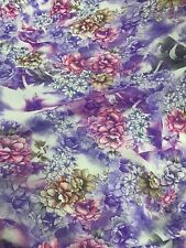 "Purple Pink Brown Floral Flower Chiffon Fabric 60""W BTY Drape Craft Tablecloth"