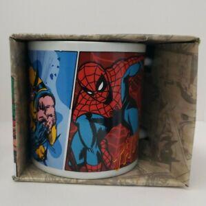 Marvel Spider-Man, Wolverine, Cap & Iron Man 20oz Ceramic Mug New In Box!