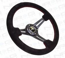 NRG Deep Dish Steering Wheel - 350mm Black Suede with Red Stitching (ST-018S)