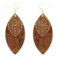 Cork Texture Metal Filigree Marquise Earring