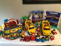 LARGE Fisher Price Little People LOT w/ Buses, House, Time to Learn Preschool
