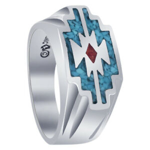Men's 925 Sterling Silver Turquoise Coral Gemstone Southwestern Style Ring