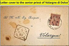 1893 Letter cover to senior priest of Volargne di Dolce' w/very nice stamp. (18)