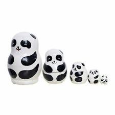 5pcs Panda Wooden Nesting Russian Nesting Dolls Matryoshka Set Kids Gift Toys
