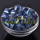 New 5pcs 14mm Big Cube Square Crystal Glass Loose Spacer Beads Grayish Blue