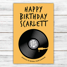 *PERSONALISED* SURPRISE music concert BIRTHDAY gift vinyl record SCRATCH CARD