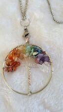 Crystal Gemstone 7 Chakra Healing Tree of Life Pendant Necklace chain USA