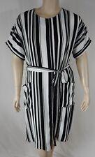 NEW City Chic Black Short Sleeve Sexy Stripe Dress Plus Size XS 14 BNWT #T54