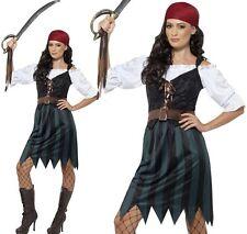 Smiffys Adult Women's Pirate Deckhand Costume Shirt Mock Waistcoat Skirt Bel