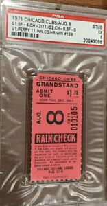 1971 CUBS VS GIANTS TICKET STUB-GAYLORD PERRY 11 INNING CG-HR-WIN #129🔥PSA 5 EX
