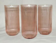 4 Discontinued Anchor Hocking Monaco Blush Pink 17 oz Flat Iced Tea Glasses EUC