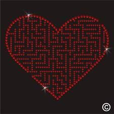 Love Heart Puzzle Rhinestone Diamante Transfer Iron On Hotfix Gem Crystal Motif