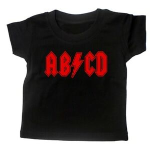 BABY T SHIRT ABCD ACDC ROCK MUSIC FUNNY METAL SLOGAN