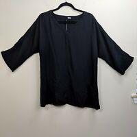 Fridaze Medium Top Linen Popover Shirt Black Arm Cutouts Lagenlook Blouse Womens