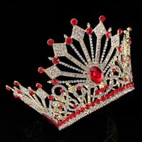 Bridal Crown Crystals Red Blue White Wedding Tiaras Earrings Bridal Accessories