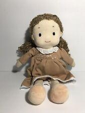 "Waldorf 15"" Plush Doll Curly Light Brown Hair and Cute Soft Dress"