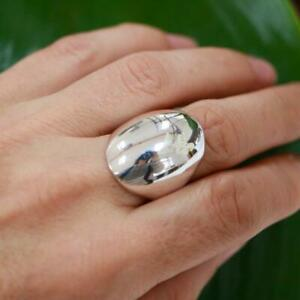 Plain chunky 925 Sterling Silver Domed Ring Jewellery