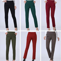 Women Office Slim Stretch Pencil Pants High Waist Skinny Casual Trouser Spring