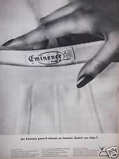 PUBLICITÉ 1966 EMINENCE SOUS VÊTEMENTS SLIP POUR LES HOMMES - ADVERTISING