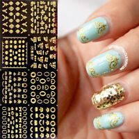 12Stk Nail Nagel Art Sticker Aufkleber 3D Gold Stickers Herz Krone Bowknot 5617