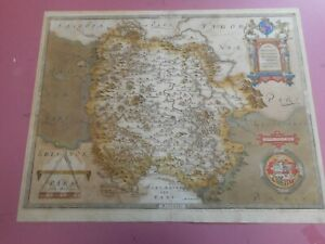 100% ORIGINAL LARGE HEREFORDSHIRE MAP BY CHRISTOPHER SAXTON  C1577 SCARCE