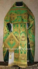 Russian Orthodox Priest vestment vestments Metallic Brocade  Green Gold Floral