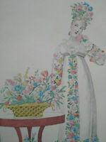Rarissime gravure La manie des fleurs Le Bon Genre vers 1810 numéro 78