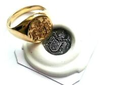 Hand engraved Seal Engraving 9ct, 13 x 16mm gold signet ring with wax impression