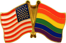 47115 United States & Gay Pride Crossed Flags USA Enamel Pin Badge Button Lapel