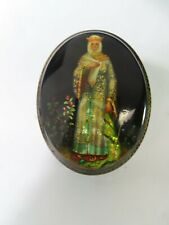 Russian Fedoskino Pegockuno Small Hand Painted Lacquer Trinket Box Signed