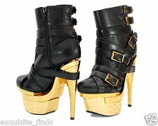 New VERSACE TRIPLE PLATFORM BLACK LEATHER ANKLE BOOTS 39 - 9