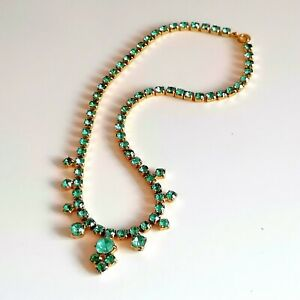 Peacock Green Rhinestone Necklace Vintage 60s