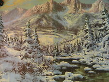 ORIGINAL PRINT VINTAGE LITHOGRAPH LITHO WINTER LANDSCAPE MOUNTAIN RANGE RIVER NR