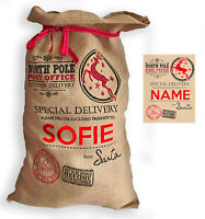 "XL Personalised Hessian "" North Pole Post Office "" Santa Christmas Present Sack"