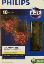 NEW STRAND CHRISTMAS Rattan Star Lights Garland 10 Count LED PHILLIPS Warm White