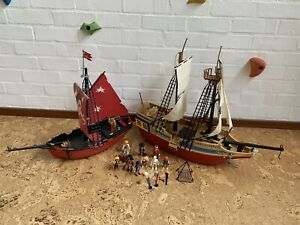 Playmobil Red Pirate Ship (5869) And Pirate Treasure Ship 4290