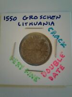 LITHUANIA ~ 1550 ~ 1 GROSCHEN ~ SILVER ~ VF ~ DOUBLE DATE