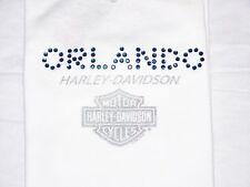 HARLEY DAVIDSON MOTORCYCLES Gem Bling Women Lady Sexy Sleeveless White Shirt Top