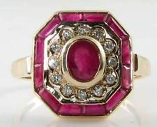 STUNNING LARGE 9K 9CT GOLD DECO INS INDIAN RUBY & DIAMOND OCTAGON RING